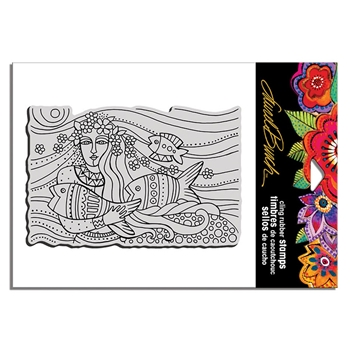 Stampendous Cling Stamp MERMAID FLOW Laurel Burch lbcp017