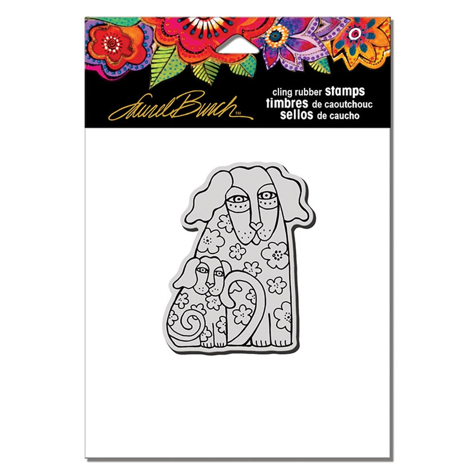 Stampendous Cling Stamp DOG DUO Laurel Burch lbcv011 zoom image