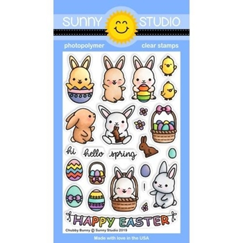 Sunny Studio CHUBBY BUNNIES Clear Stamps SSCL-212