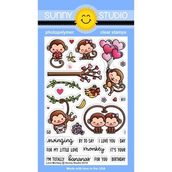 Sunny Studio LOVE MONKEY Clear Stamps SSCL-211