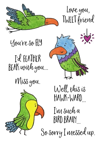 Inky Antics FEATHERED FRIENDS Clear Stamp Set 11431mc zoom image