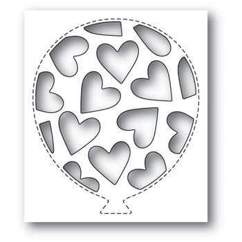 Poppy Stamps TUMBLED HEART BALLOON COLLAGE Craft Die 2156