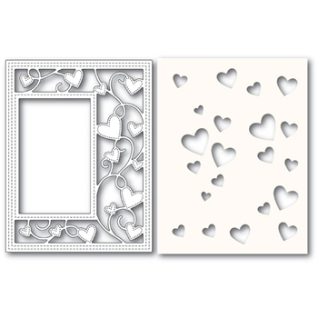 Poppy Stamps RIBBON HEART SIDEKICK FRAME Craft Die and Stencil 2152