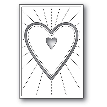 Poppy Stamps DECO SHINING HEART Craft Die 2154