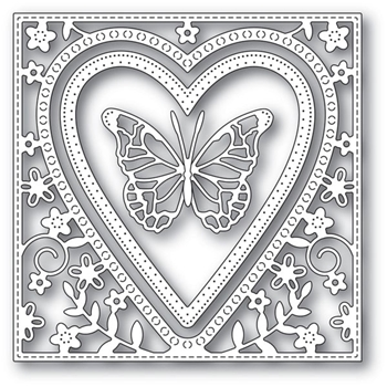 Memory Box BUTTERFLY HEART FRAME Craft Dies 94110