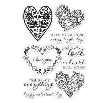 Hero Arts Clear Stamps ALL MY LOVE DECORATIVE HEARTS CM332