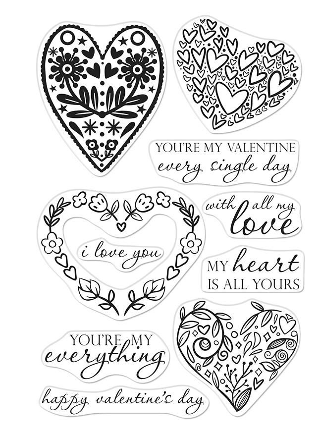 Hero Arts Clear Stamps ALL MY LOVE DECORATIVE HEARTS CM332 zoom image