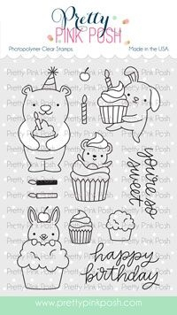Pretty Pink Posh CUPCAKE CRITTERS Clear Stamps zoom image