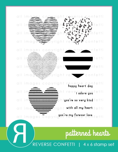 Reverse Confetti PATTERNED HEARTS Clear Stamps zoom image
