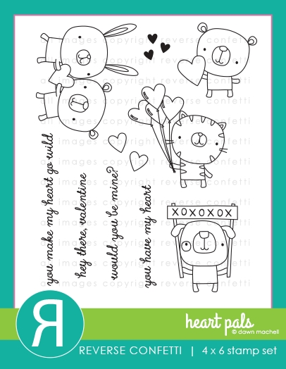 Reverse Confetti HEART PALS Clear Stamps zoom image