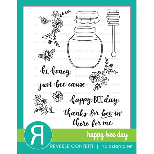 Reverse Confetti HAPPY BEE DAY Clear Stamps Preview Image