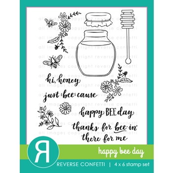 Reverse Confetti HAPPY BEE DAY Clear Stamps