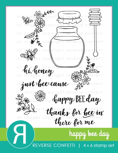 Reverse Confetti HAPPY BEE DAY Clear Stamps zoom image