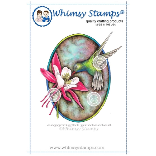Whimsy Stamps HUMMINGBIRD AND COLUMBINE Cling Stamp DA1101 Preview Image