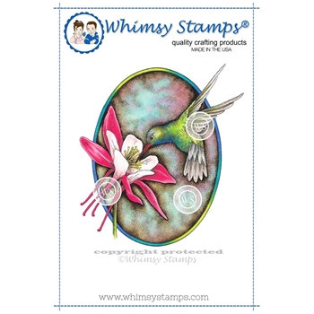 Whimsy Stamps HUMMINGBIRD AND COLUMBINE Cling Stamp DA1101