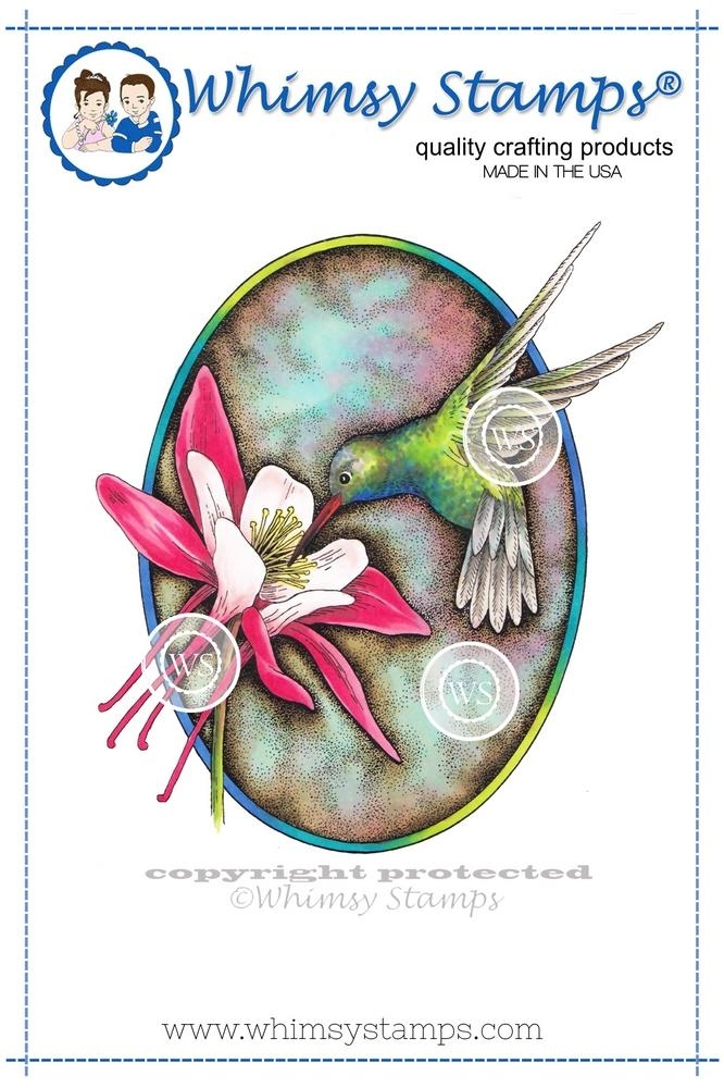 Whimsy Stamps HUMMINGBIRD AND COLUMBINE Cling Stamp DA1101 zoom image