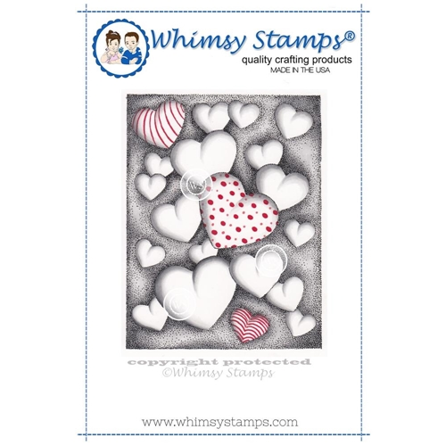 Whimsy Stamps HEARTS FLOATING Cling Stamp DA1100 Preview Image