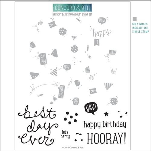 Concord & 9th BIRTHDAY BASICS TURNABOUT Clear Stamp Set 10543 Preview Image