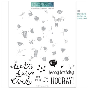 RESERVE Concord & 9th BIRTHDAY BASICS TURNABOUT Clear Stamp Set 10543