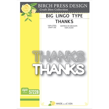 Birch Press Design BIG LINGO TYPE THANKS Craft Dies 57228