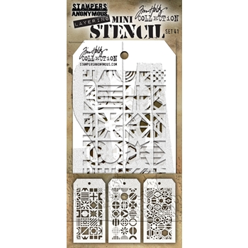 RESERVE Tim Holtz MINI STENCIL SET 41 MST041