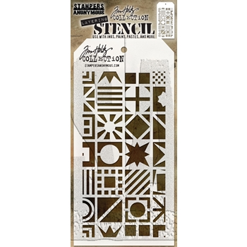 RESERVE Tim Holtz Layering Stencil PATCHWORK CUBE THS123
