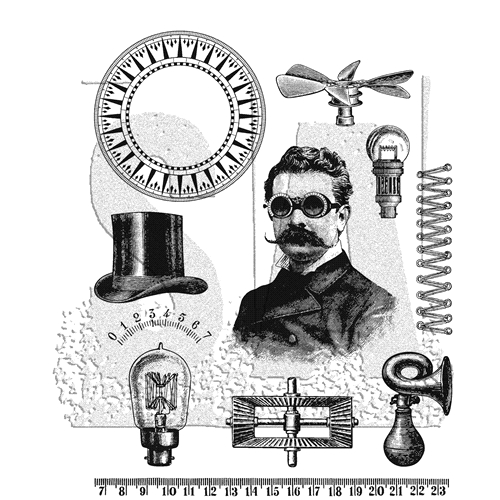 RESERVE Tim Holtz Cling Rubber Stamps 2019 THE PROFESSOR CMS373 Preview Image