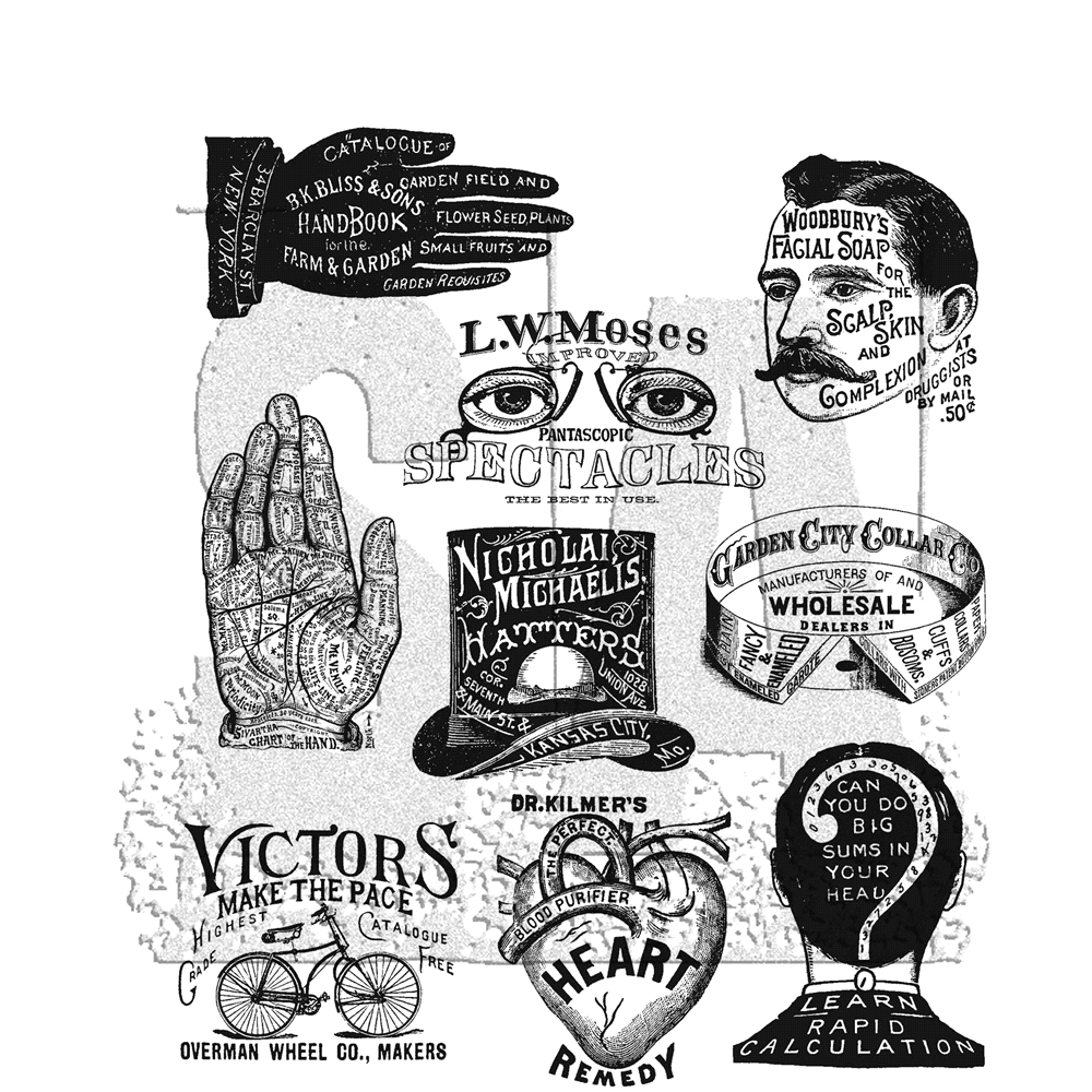 Tim Holtz Cling Rubber Stamps 2019 ECLECTIC ADVERTS CMS372 zoom image