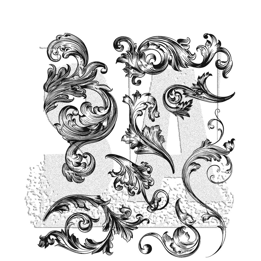 Tim Holtz Cling Rubber Stamps 2019 SCROLLWORK CMS367 zoom image
