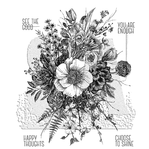 RESERVE Tim Holtz Cling Rubber Stamps 2018 GLORIOUS GARDEN WITH GRID BLOCK CMS366 Preview Image