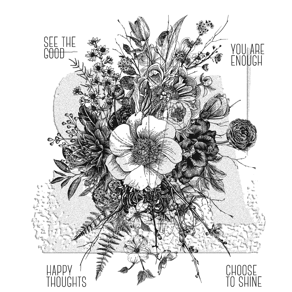 RESERVE Tim Holtz Cling Rubber Stamps 2018 GLORIOUS GARDEN WITH GRID BLOCK CMS366 zoom image