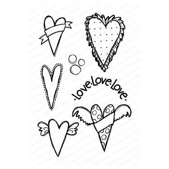 Impression Obsession Clear Stamps HEARTS CL901