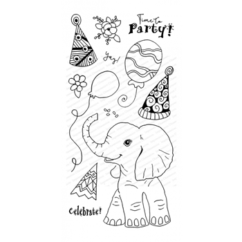Impression Obsession Clear Stamps PARTY ELEPHANT WP897