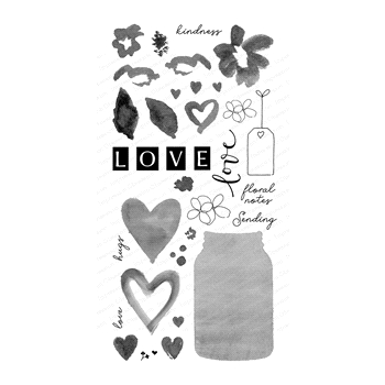 Impression Obsession Clear Stamps HEARTS AND FLOWERS FOR YOU WP896