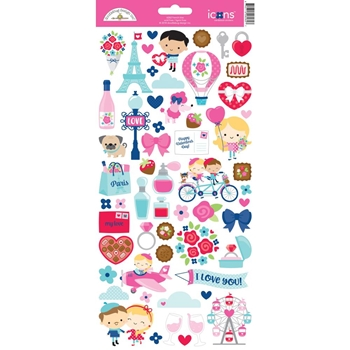 Doodlebug FRENCH KISS ICONS Cardstock Stickers 6262