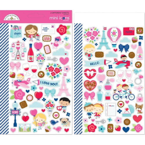 Doodlebug FRENCH KISS Mini Icons Cardstock Stickers 6253 Preview Image