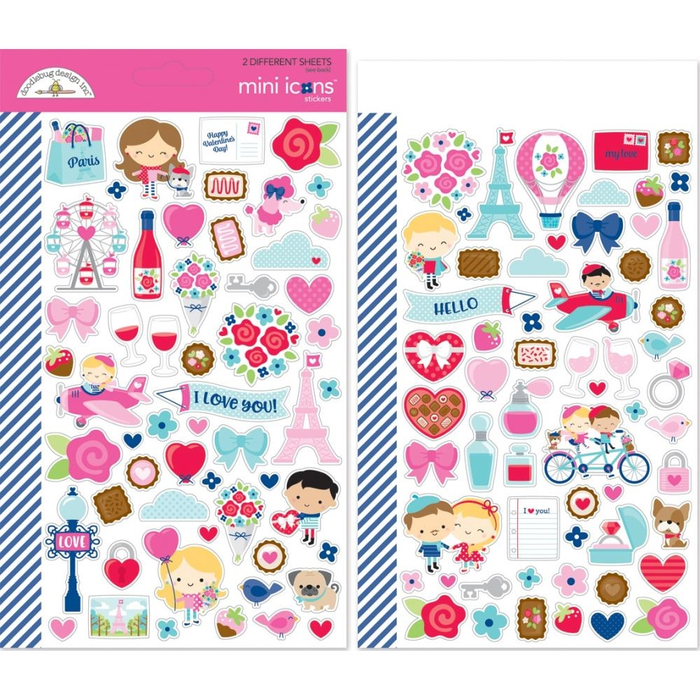 Doodlebug FRENCH KISS Mini Icons Cardstock Stickers 6253 zoom image