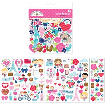 Doodlebug FRENCH KISS Odds and Ends Die Cut Shapes 6247