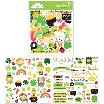 Doodlebug LOTS O' LUCK Odds and Ends Die Cut Shapes 6249