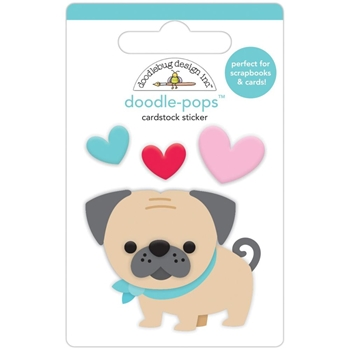 Doodlebug LOVE PUG Doodle Pops 3D Stickers French Kiss 6231