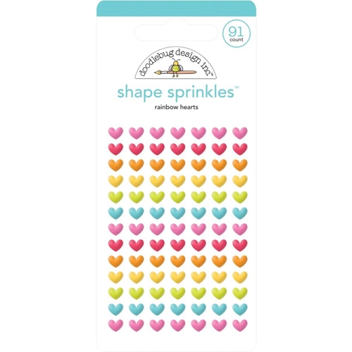 Doodlebug RAINBOW HEARTS Sprinkles Adhesive Glossy Enamel Shapes 6223 Preview Image