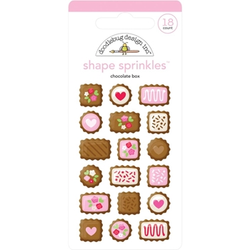 Doodlebug CHOCOLATE BOX Sprinkles Adhesive Glossy Enamel Shapes 6222