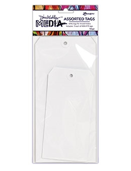 Dina Wakley Ranger 8 and 10 WHITE Assorted Media Tags mda64619