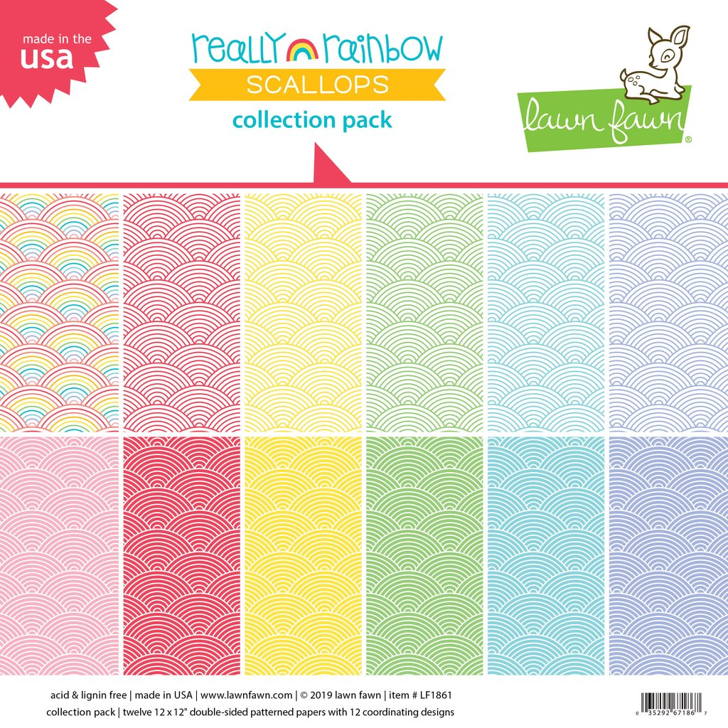 RESERVE Lawn Fawn REALLY RAINBOW SCALLOPS 12x12 Collection Pack LF1861