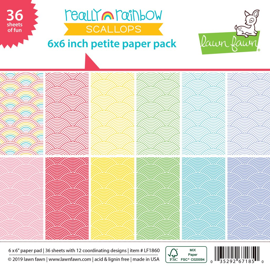 RESERVE Lawn Fawn REALLY RAINBOW SCALLOPS 6x6 Petite Paper Pack LF1860