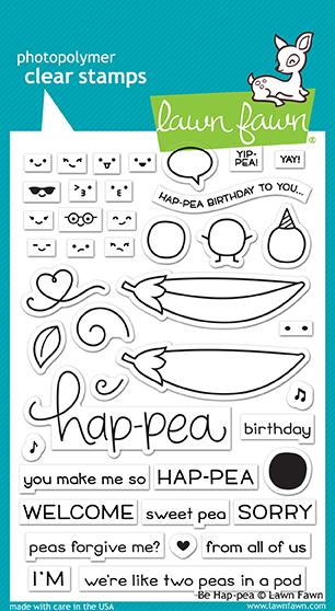 RESERVE Lawn Fawn BE HAP-PEA Clear Stamps LF1890