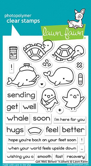 RESERVE Lawn Fawn GET WELL BEFORE 'N AFTERS Clear Stamps LF1886