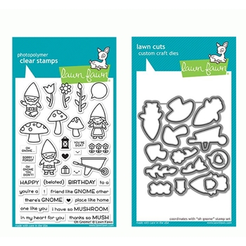 RESERVE Lawn Fawn SET OH GNOME! Clear Stamps and Dies LF19OG