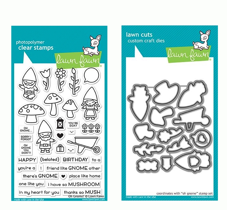 RESERVE Lawn Fawn SET OH GNOME! Clear Stamps and Dies LF19OG zoom image