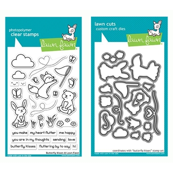 Lawn Fawn SET BUTTERFLY KISSES Clear Stamps and Dies LF19BK